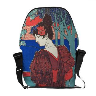 孔雀のアールヌーボーのヴィンテージのファインアートを用いる女性 メッセンジャーバッグ