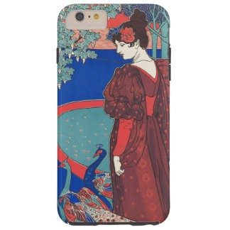 孔雀のアールヌーボーのヴィンテージのファインアートを用いる女性 TOUGH iPhone 6 PLUS ケース