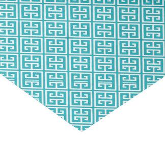 孔雀のティール(緑がかった色)のギリシャの主パターン 薄葉紙