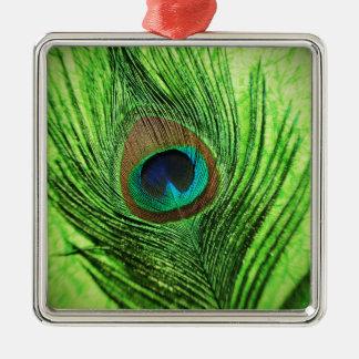 孔雀のライムグリーン メタルオーナメント