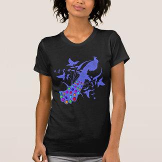 孔雀のヴィンテージのデザイン Tシャツ