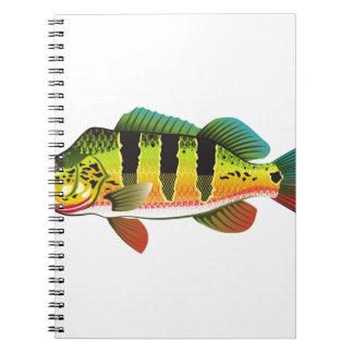 孔雀の低音の明るい海の釣魚の絵 ノートブック