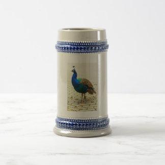 孔雀の写真 ビールジョッキ