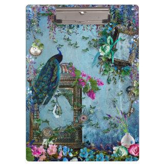 孔雀の庭の藤の青いラベンダーのピンク クリップボード