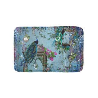 孔雀の庭の藤の青いラベンダーのピンク バスマット