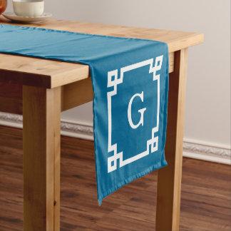孔雀の白いギリシャ人の鍵によって組み立てられる#2最初のモノグラム ショートテーブルランナー