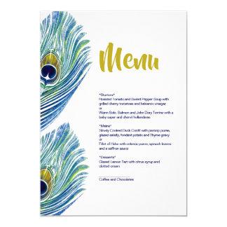 孔雀の結婚式メニューカード カード