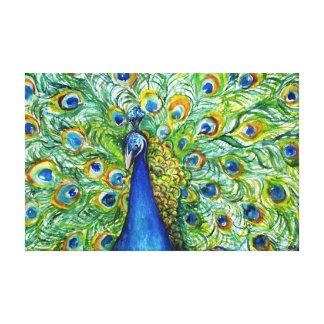 孔雀の絵画 キャンバスプリント