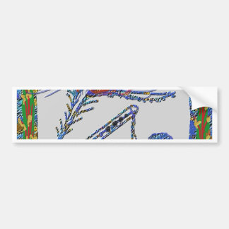 孔雀の羽およびフルート-ノウサギKrishna バンパーステッカー