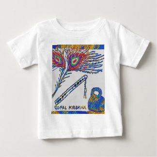 孔雀の羽およびフルート-ノウサギKrishna ベビーTシャツ