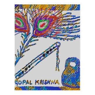 孔雀の羽およびフルート-ノウサギKrishna ポストカード
