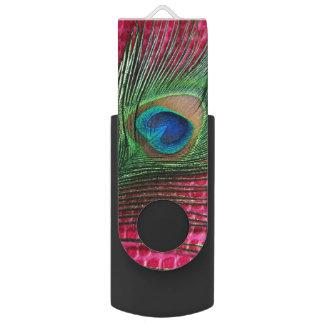 孔雀の羽とのわにピンク USBフラッシュドライブ