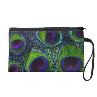 孔雀の羽のクラッチのリストレットのバッグ-紫色の緑 リストレット