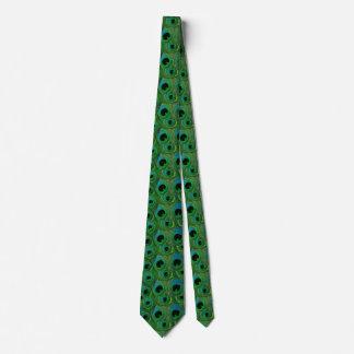 孔雀の羽のタイ-緑のティール(緑がかった色)の水のターコイズ カスタムネクタイ
