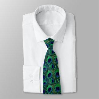 孔雀の羽のタイ-緑のティール(緑がかった色)の濃紺の紫色 ネクタイ