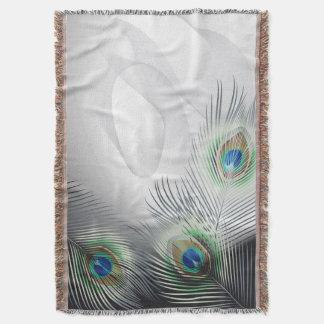 孔雀の羽のファンタジーによって編まれるブランケット スローブランケット