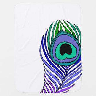 孔雀の羽のベビーブランケット ベビー ブランケット
