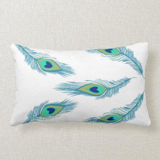 孔雀の羽のボヘミアのBohoのモロッコの枕2 ランバークッション