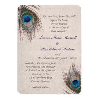 孔雀の羽のボーダー結婚式 カード