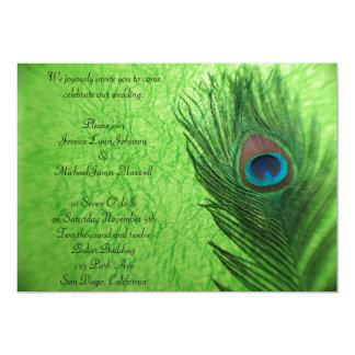 孔雀の羽のライムグリーンの結婚式 カード