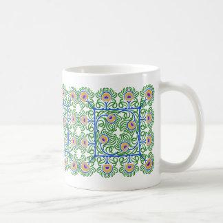 孔雀の羽の刺繍スタイルのマグ コーヒーマグカップ