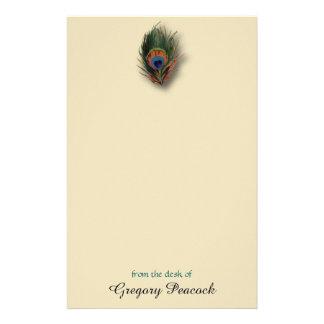 孔雀の羽の名前入りなモノグラムの文房具 便箋
