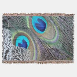 孔雀の羽の大きい青い目 スローブランケット