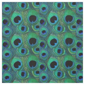 孔雀の羽の生地のティール(緑がかった色)の水の青緑の黒 ファブリック