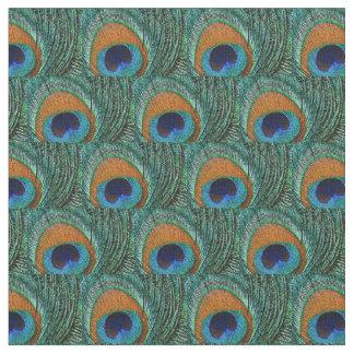 孔雀の羽の生地-タンの水、緑青 ファブリック