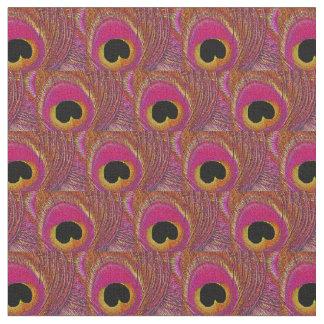 孔雀の羽の生地-ピンクの黄橙色の黒 ファブリック