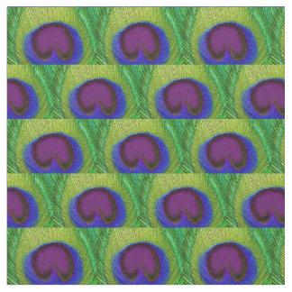 孔雀の羽の生地-緑の紫色の青写真 ファブリック