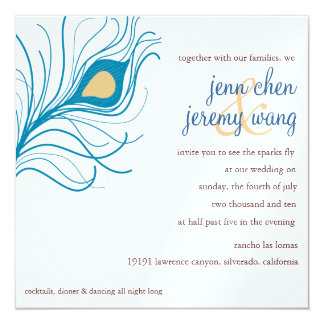 孔雀の羽の結婚式の招待 13.3 スクエアインビテーションカード