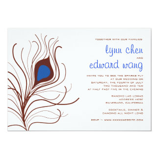 孔雀の羽の結婚式招待状-コバルトブルー 12.7 X 17.8 インビテーションカード