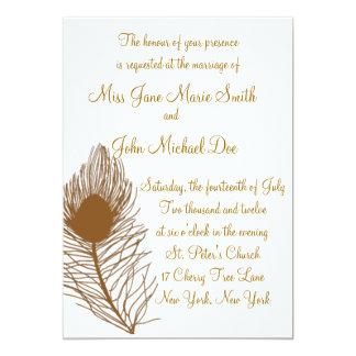 孔雀の羽の結婚式招待状-錆 カード
