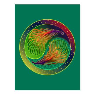 孔雀の羽の陰陽3 ポストカード