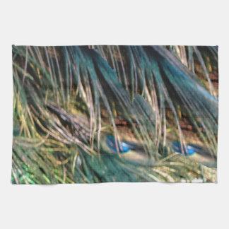 孔雀の羽の青い目を掃いて下さい キッチンタオル