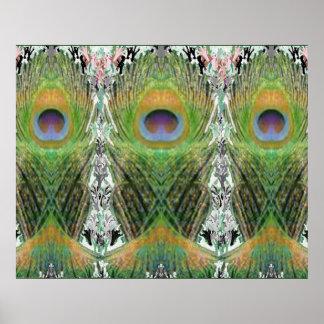 孔雀の羽ショー-魚によって形づけられるデジタル ポスター