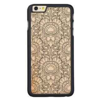 孔雀の羽パターン落書き CarvedメープルiPhone 6 PLUS スリムケース