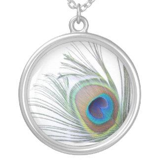 孔雀の羽 シルバープレートネックレス