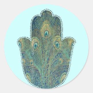 孔雀の羽Hamsa ラウンドシール