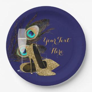 孔雀の金ゴールドのハイヒールは紙皿に蹄鉄を打ちます ペーパープレート