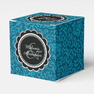 孔雀の青緑のヴィンテージのダマスク織 フェイバーボックス