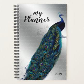 孔雀の鳥の銀の手紙日のプランナー プランナー手帳