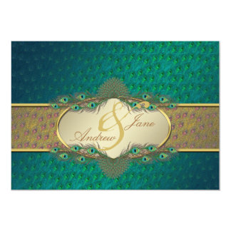 孔雀はエレガントな婚約の招待状に羽をつけます 12.7 X 17.8 インビテーションカード