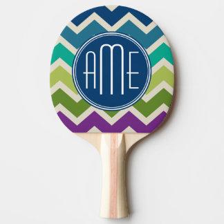 孔雀はシェブロンパターンカスタムのモノグラムを着色します 卓球ラケット