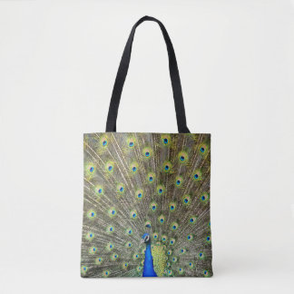 孔雀は尾美しい戦闘状況表示板の買い物袋に羽をつけます トートバッグ