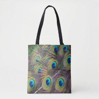 孔雀は美しい戦闘状況表示板の買い物袋に羽をつけます トートバッグ