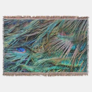 孔雀は虹色に羽をつけます スローブランケット