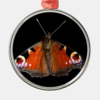 孔雀蝶 シルバーカラー丸型オーナメント