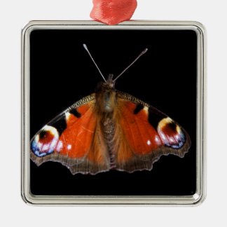 孔雀蝶 シルバーカラー正方形オーナメント